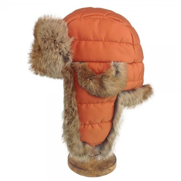 Kanin Fell Fliegermütze mit Stepp, orange