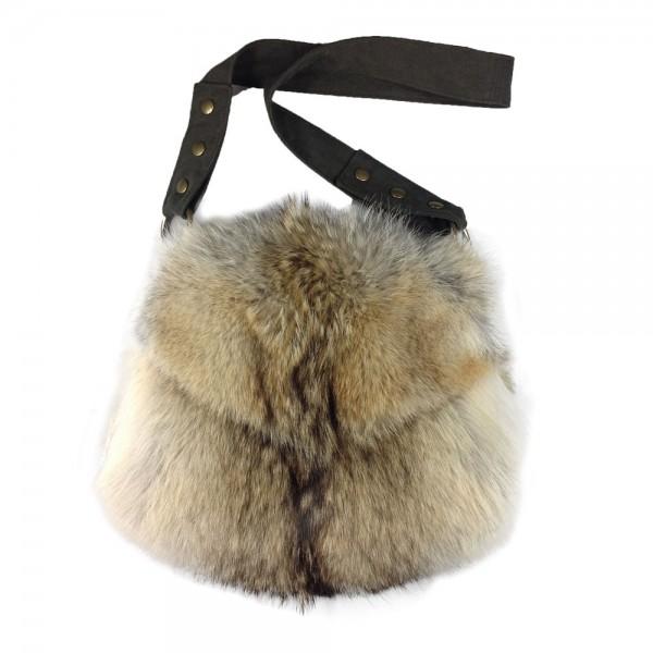Cojote Umhängetasche / Muff mit Daunenbeutel aus echtem Fell